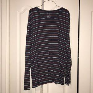 Men's XL Long Sleeved Red Blue Striped Shirt